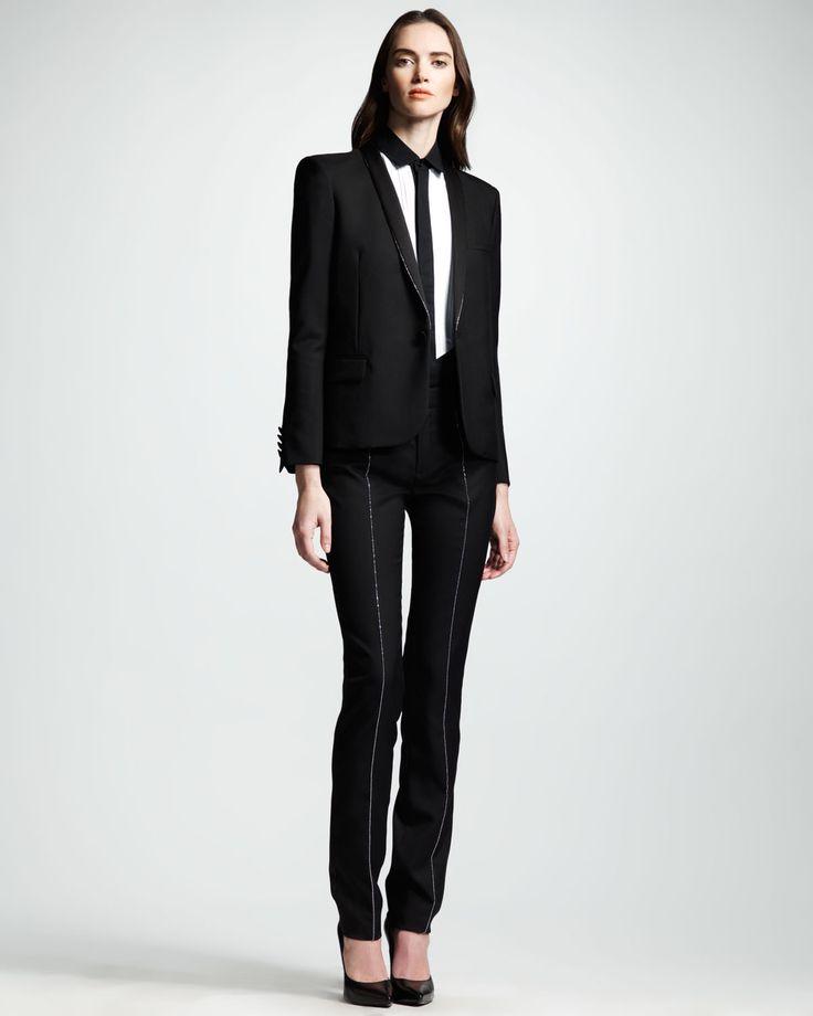 Saint Laurent Studded Gabardine Tuxedo Jacket, Two-Tone Voile Blouse & Tuxedo Pants | Bergdorf Goodman