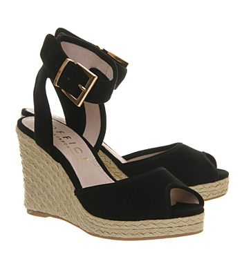 Office Dark Horse Wedge Espadrille Black Suede - Mid Heels