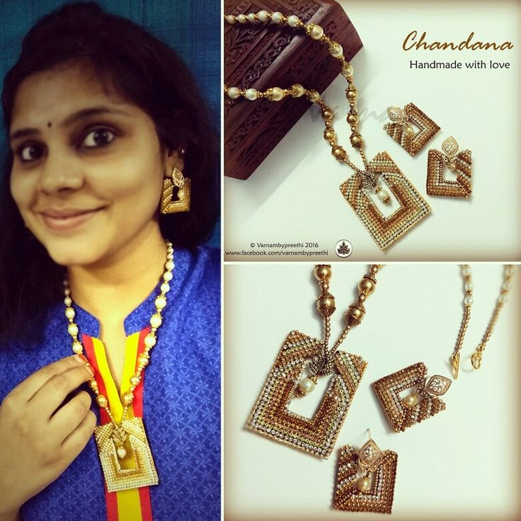 When you love to flaunt :)  Chandana came to me with an order for these square Bali Earrings but I suppose she fell in love with them that she wanted the pendant, a complete set... Hence the name :) CODE NAME: CHANDANA Handcrafted paper based Bali style jewelry fully adorned with rhinestones :) #handmadelove #handmadejewelry #rhinestones #chandana #varnambypreethi #chennai #ethnic #jewelry #traditional #flauntpost #model