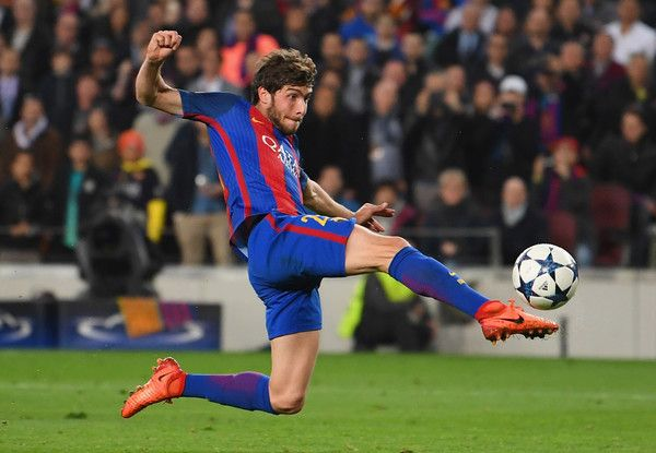 Sergi Roberto of Barcelona scores their sixth goal during the UEFA Champions League Round of 16 second leg match between FC Barcelona and Paris Saint-Germain at Camp Nou on March 8, 2017 in Barcelona, Catalonia.