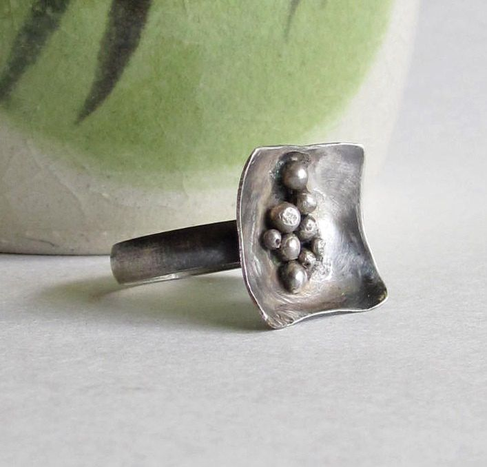 Pebble Ring - Square Ring - Minimalist Modern Jewelry - Sterling Silver Ring