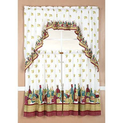RT Designers Collection Ruffle Wine Tier and Valance Kitchen Curtain Set