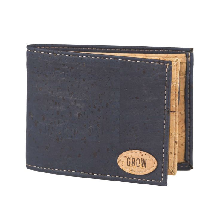 Mens Blue Cork Wallet, FREE-SHIPPING, Vegan Leather Wallet, Eco Wallet, Gift for Him,Green Products, Kork by GrowFromNature on Etsy