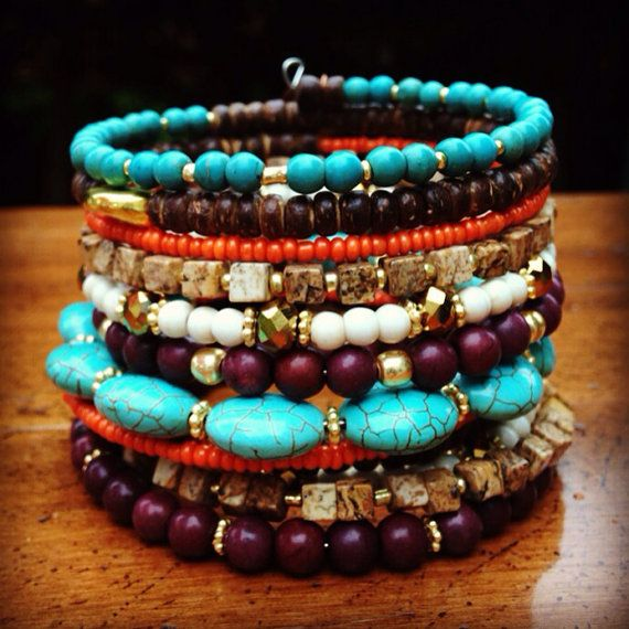 Beaded Boho Wrap Bracelet, Neon Turquoise Bracelet, Memory Wire Bracelet, Wrap Around Bracelet, Beaded Bracelet Cuff, Stacked Bracelet on Etsy, $35.00