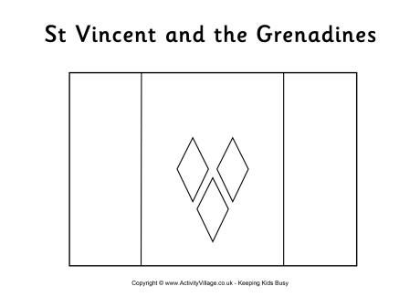 St Vincent flag colouring page
