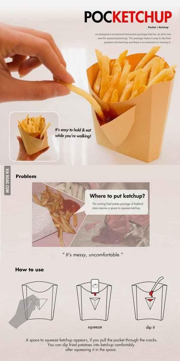 Este soporte para papas fritas con un bolsillo para ketchup incorporado.