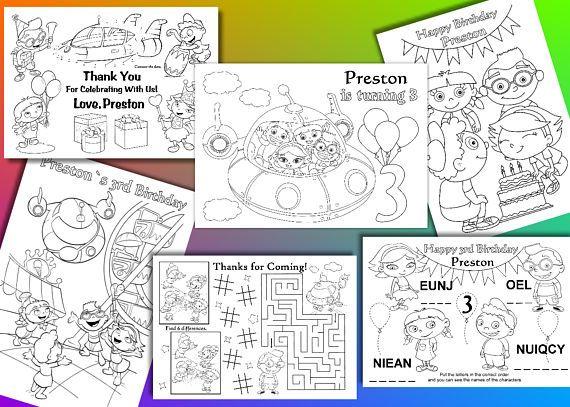 Little Einsteins coloring pages, Little Einsteins Birthday Party Favor, PDF file