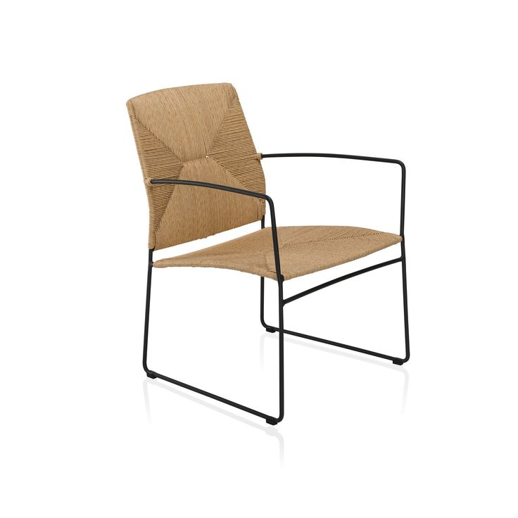 An outdoor/indoor contemporary chair using a traditional weave technique.