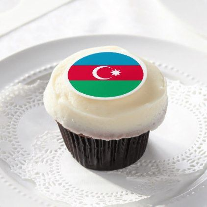 #Azerbaijan Flag Edible Frosting Rounds - #country gifts style diy gift ideas
