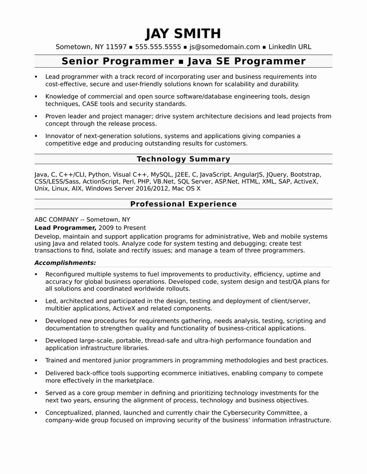 20 Java Developer Resume 5 Years Experience in 2020