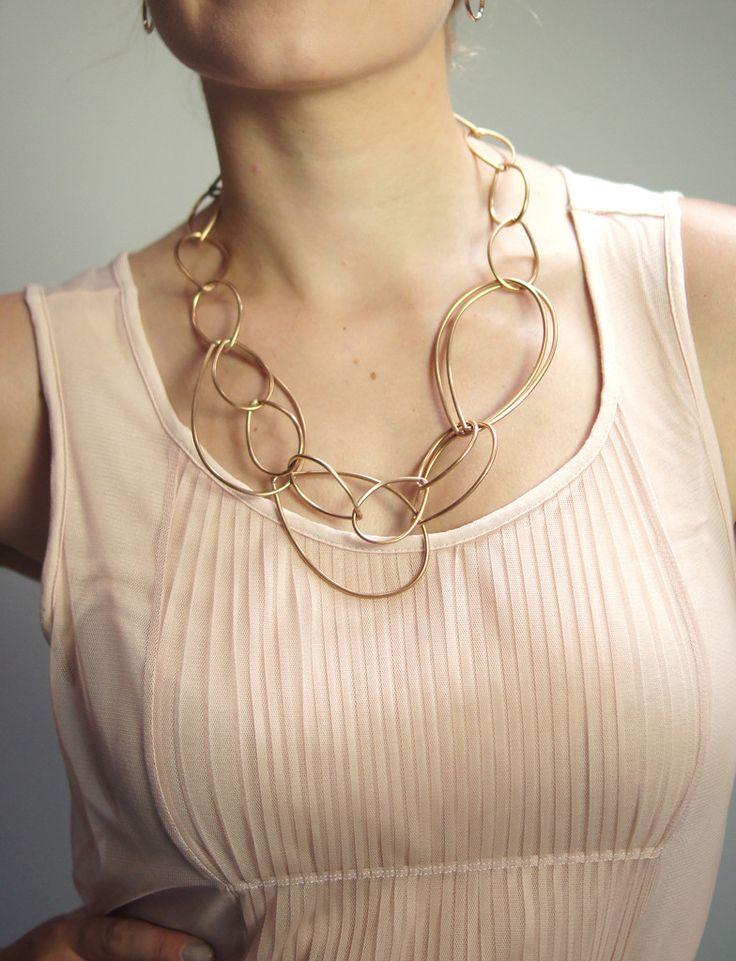 Daphne necklace // bronze chain link statement necklace