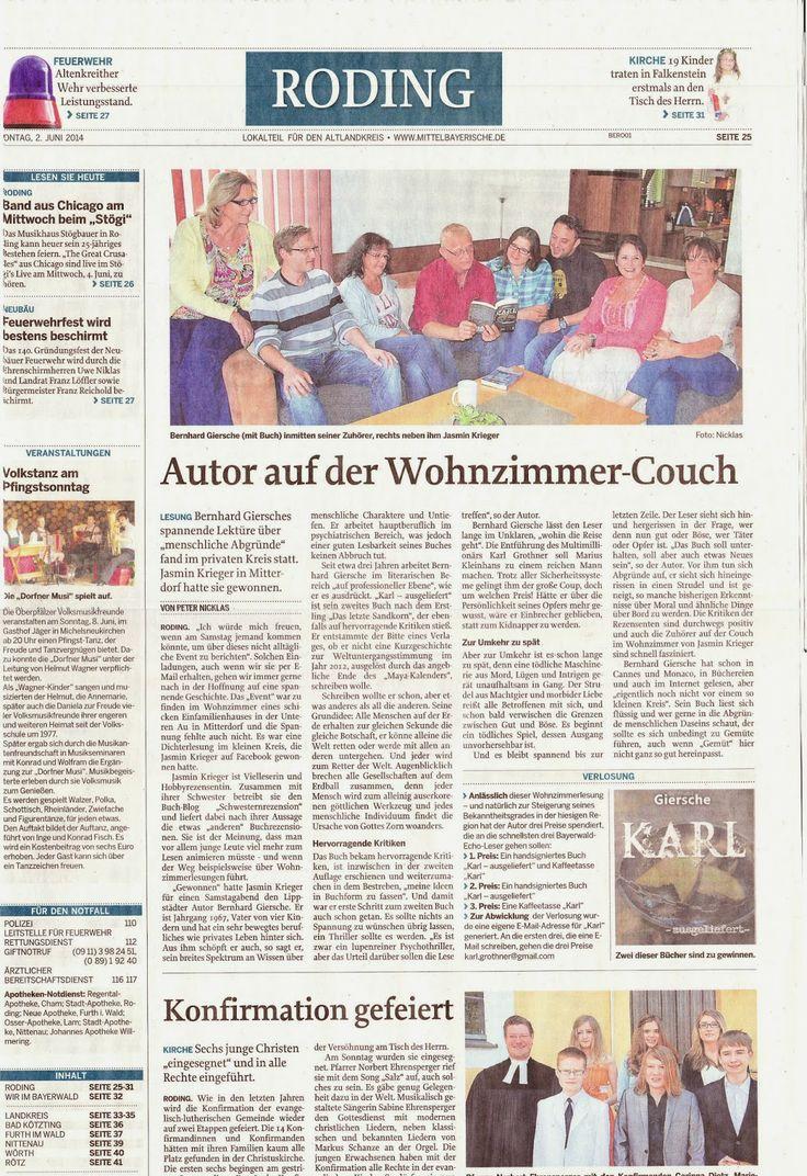 """Die etwas """"anderen"""" Buchrezensionen: Pressebericht Wohnzimmerlesung mit Bernhard Giersc..."""