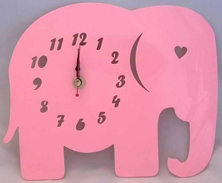 Handmade acrylic 'Ellie The Elephant' clock. Designed and laser cut in Pembrokeshire, South West Wales!