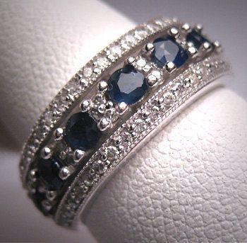 Estate Vintage Sapphire Diamond Wedding Band Ring Deco Eternity via Etsy