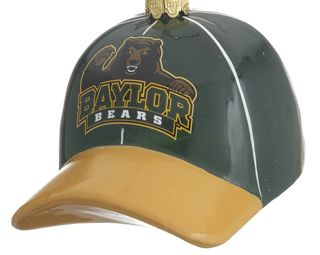 Are you a Baylor University fan?  Display this glass Baylor baseball hat on your tree this year.  It is green and gold and has a picture of their bear mascot on the front.  Buy it for only $15.95 at www.christmasornaments.com
