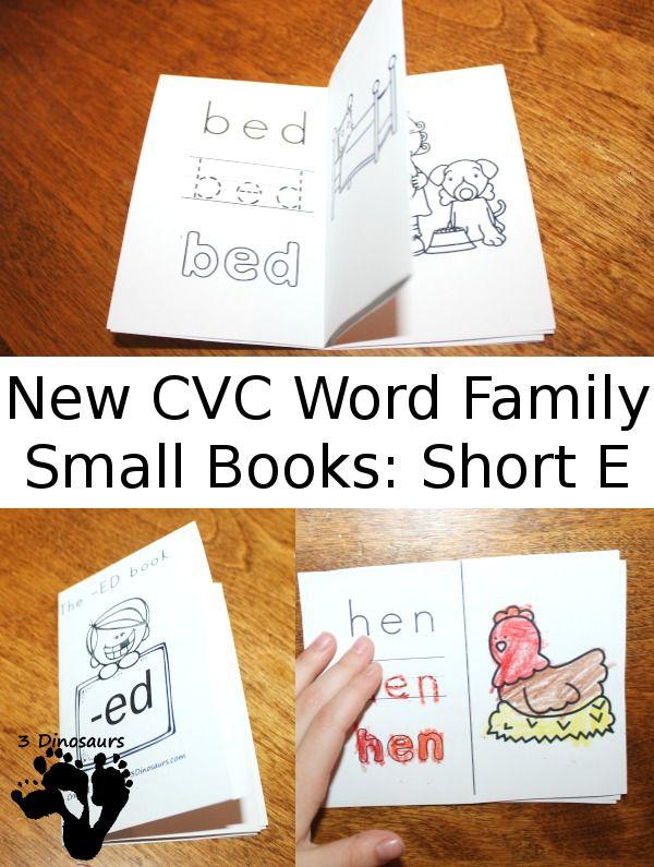 Free CVC Word Family Small Books: Short E - CVC word families: -ed, -en, -et - These are fun 8 page folding books - 3Dinosaurs.com