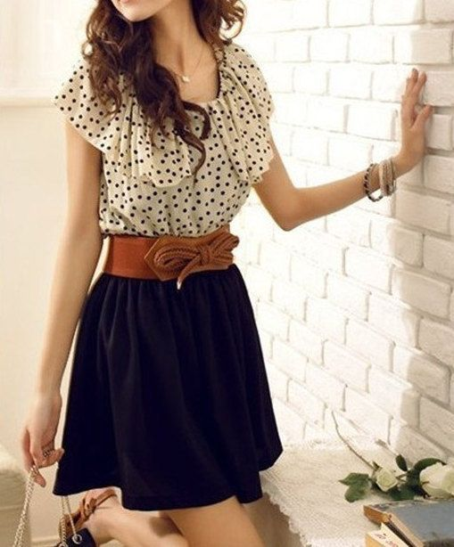 Women's Summer Short Sleeve Polka dot top, brown belt and black skirt... click on picture to see more