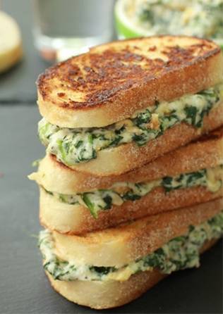 Spinach and Artichoke Grilled Cheese Sandwich. Yes please!