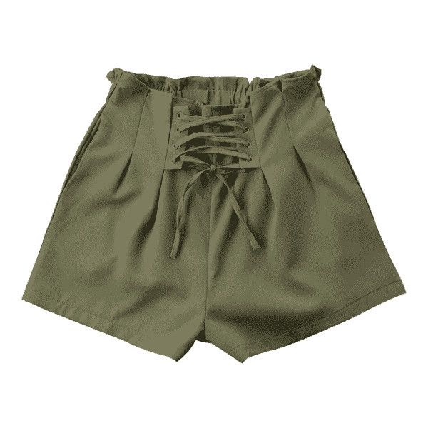 Ruffle Lace-up Shorts (96 PEN) ❤ liked on Polyvore featuring shorts, zaful, army green shorts, laced shorts, flounce shorts, olive shorts and ruffle trim shorts