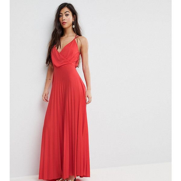 ASOS PETITE Blouson Wrap Pleated Maxi Dress ($60) ❤ liked on Polyvore featuring dresses, petite, red, wrap front dress, red dress, maxi dresses, short red dress and short dresses
