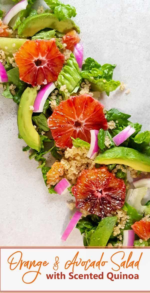 Orange salad recipe with rosemary quinoa and an orange-zest dressing. via @AskTheFoodGeek