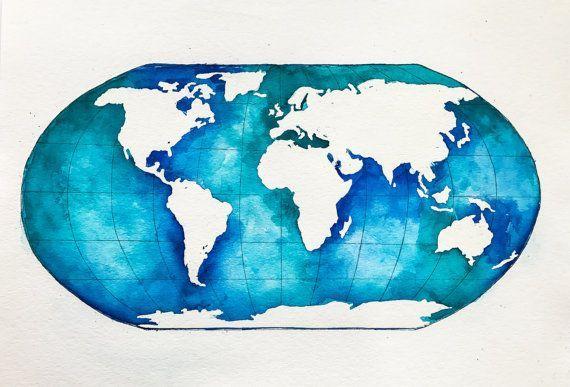 Original World Map Watercolor Painting Globe by NiksPaintGallery (scheduled via http://www.tailwindapp.com?utm_source=pinterest&utm_medium=twpin&utm_content=post136549467&utm_campaign=scheduler_attribution)