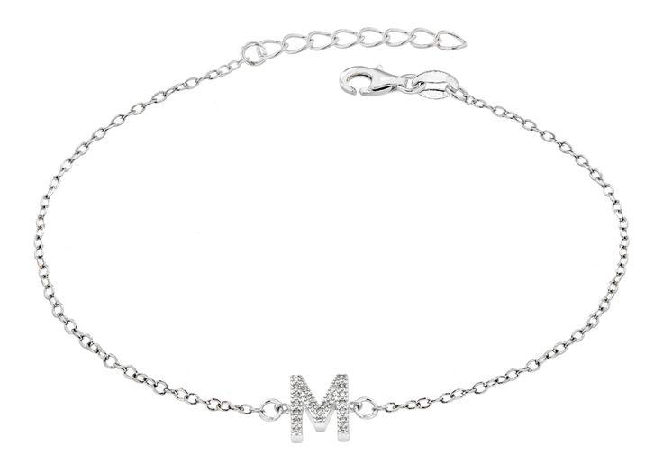 Initial bracelets in silver and cubic zirconia  http://www.tzefira.com/designers/tzefira/letter-a-crystal-silver-bracelet-11.html