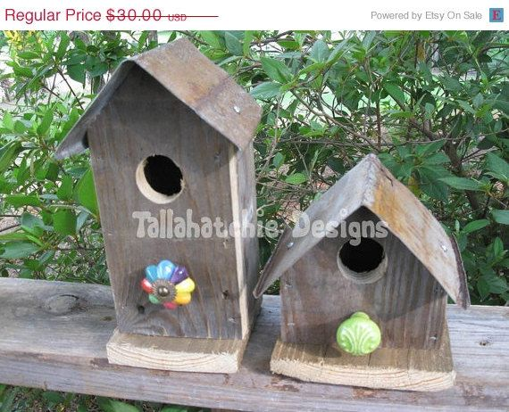 SALE 40% Off.....Barnwood Birdhouses Rustic Birdhouses by TallahatchieDesigns