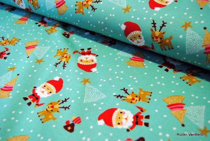 Kinderstoffe - (6147) Jersey Stretch Christmas Weihnachten mint - ein Designerstück von RUCKN-VANBERCH bei DaWanda