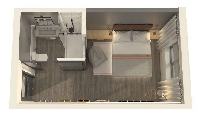 Moxy Hotel Boston Room Layout Rendering Hotel Room Design Small Hotel Room Hotel Room Plan