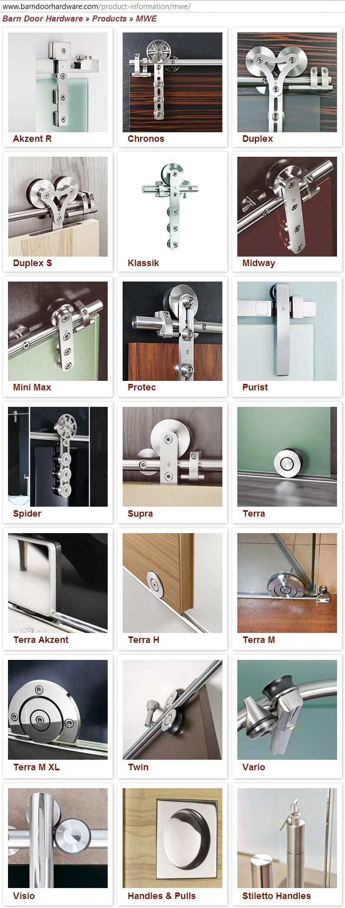 variety of track door hardware for doors and showers... found at http://www.barndoorhardware.com/product-information/mwe/