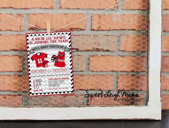 Check out Gender Reveal - Football Theme - Quarterback - Cheerleader - Boy or Girl - Gender Reveal Party – Invitation - Team Colors - College Football on libertyandlilacpaper