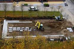 Der Sokratesplatz auf dem Campus der FH Kiel während des Umbaus Ende 2012.