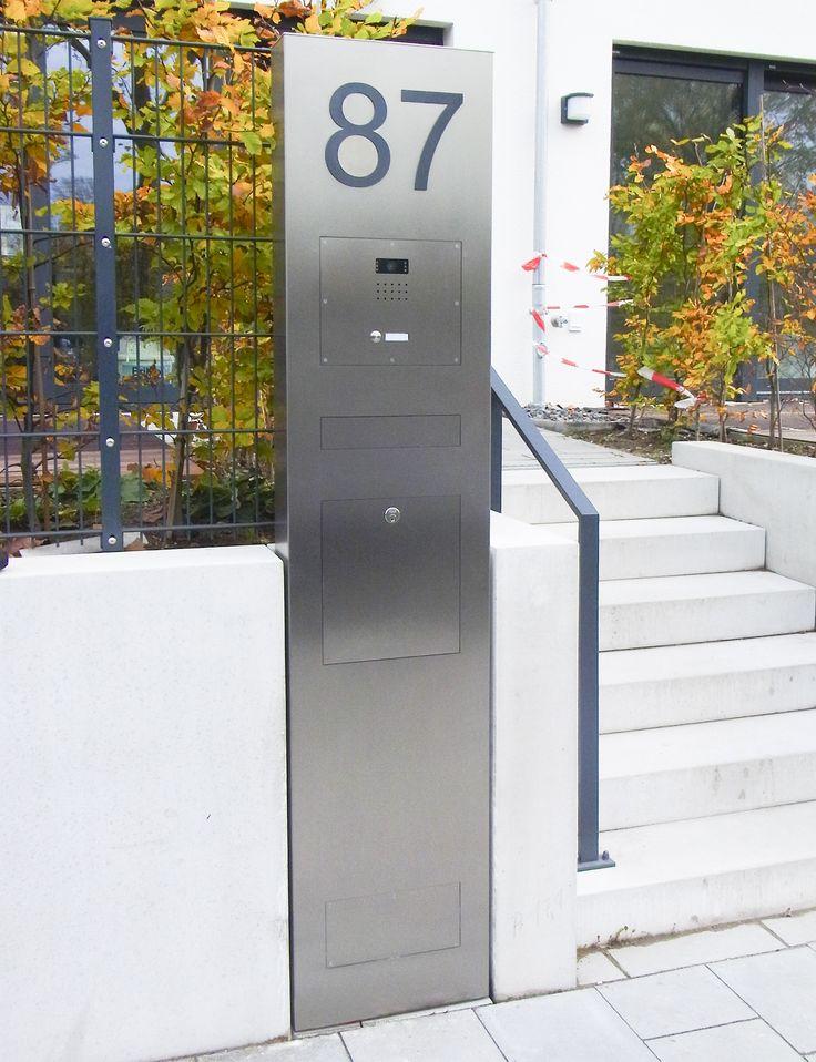 Edelstahl Designer Säulen Briefkasten genau auf Maß gefertigt.