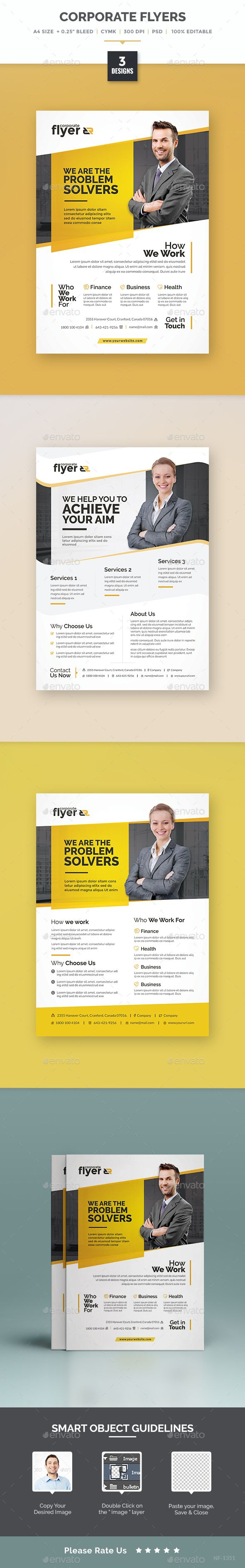 Corporate Flyer Designs Templates PSD. Download here: graphicriver.net/...