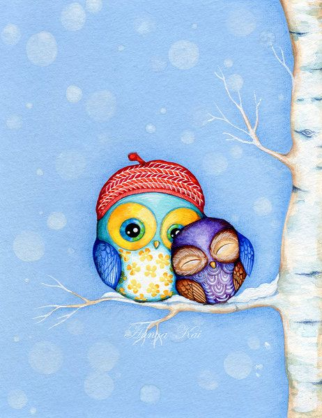 Owl in a Little Red Beret - Painting by Annya Kai - Owl Decor Snow and Birch Trees with Adorable Owl Couple