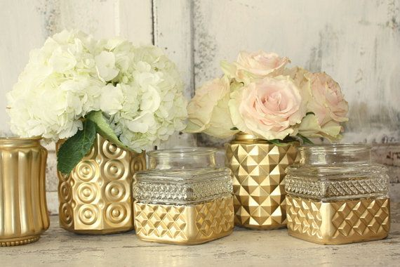 Gold vase Gold painted wedding centerpiece 6 by thepaisleymoon