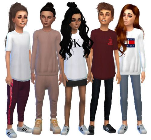 "simsrunway: "" 800 Followers Gift: Kids Streetwear Collection To thank all my lovely and incredible followers, I've made a streetwear collection for kids! I've included brands such as Adidas, Yeezus Merch, Yeezy, Calvin Klein, Tommy Hilfiger, Thrasher..."