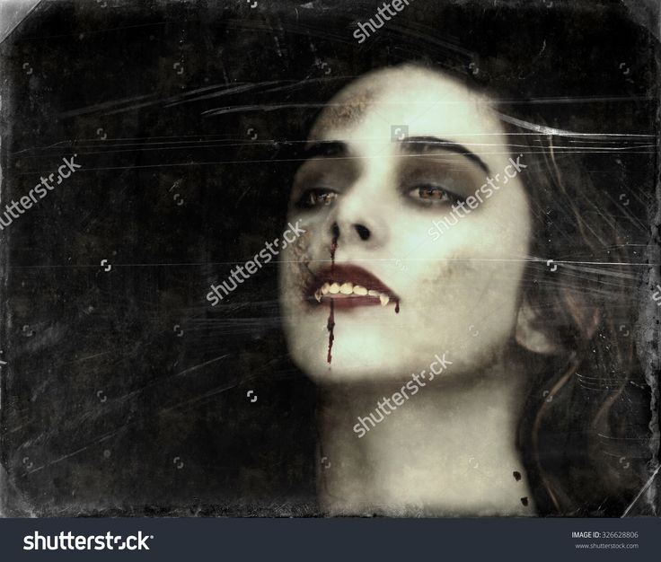 Vampire Of Young Woman With Bloody Mouth. Vintage, Grunge Photo Manipulation. - 326628806 : Shutterstock