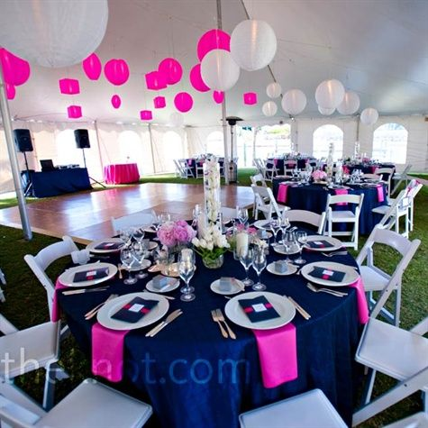 pink and navy decor