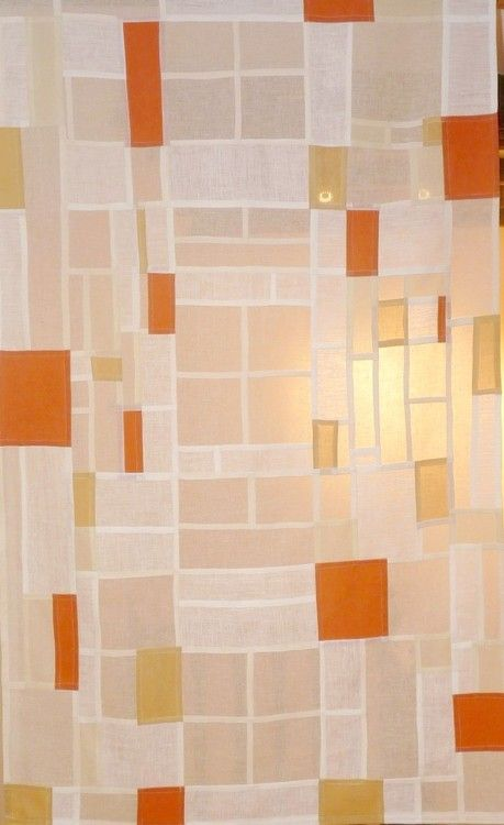 Korean pojagi (patchwork), cream muslin, henna dyed cotton, white linen, orange linen, onion skin dyed cotton.
