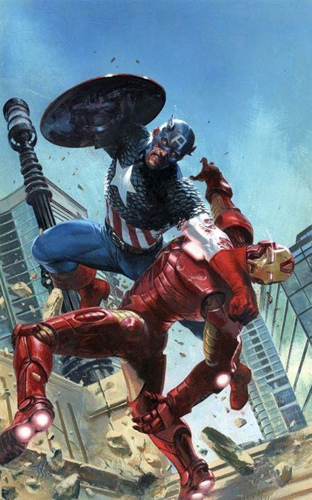 Cap vs Iron Man by Gabriele Dell' Otto