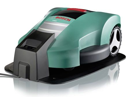 Bosch intelligent robot lawn mower autonomously avoids garden gnomes and other lawn obstacles.