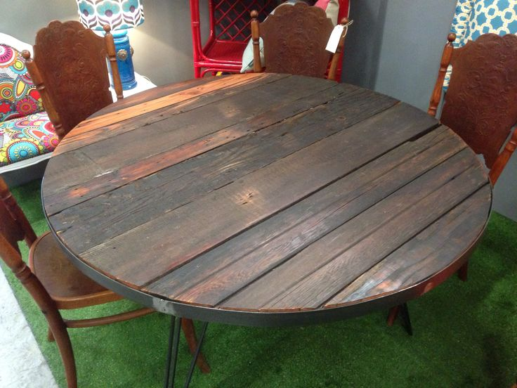 Upcycled Dining Table. Recycled ceiling timbers. Custom hairpin legs.