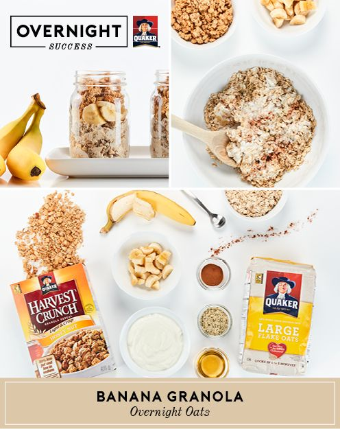 Experience #OvernightSuccess by making morning mealtime a breeze with this mix of bananas & oats, finished off with chopped bananas and Quaker® Harvest Crunch Granola. More recipe details and tips at OvernightOats.ca