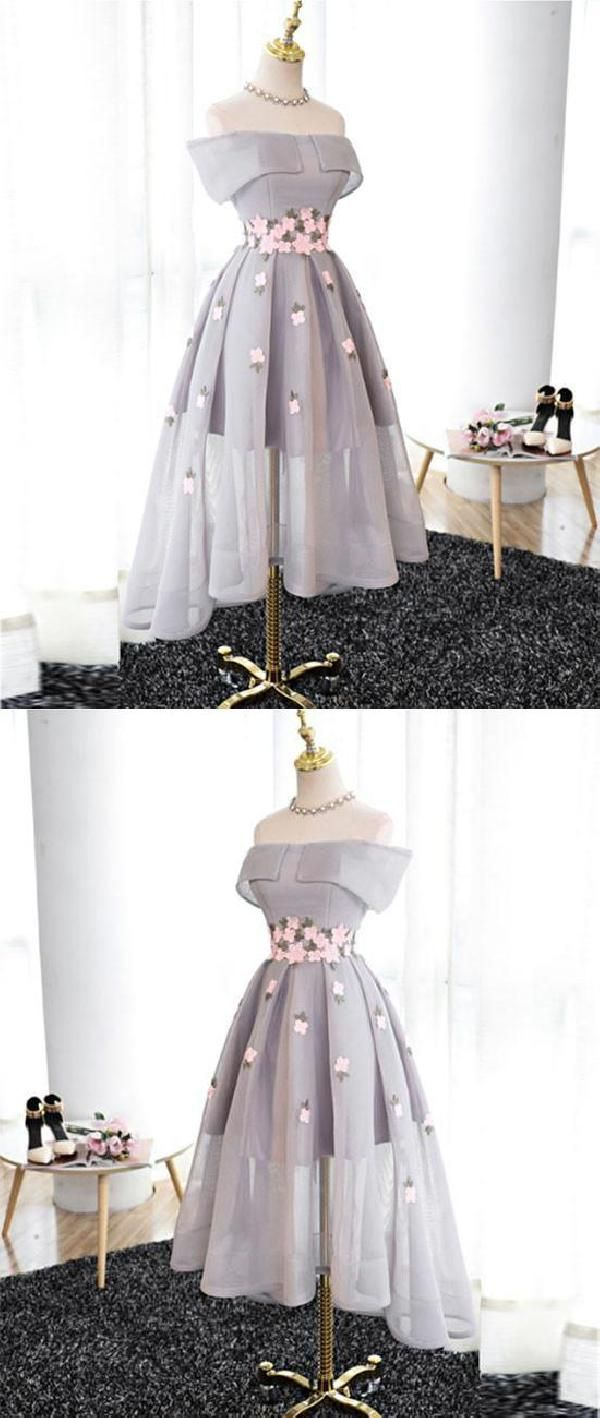 Customized soft gray organza hightlow prom dress gray bridesmaid