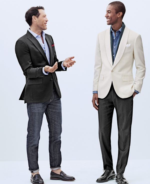 J.Crew men's Ludlow tuxedo jacket, Thomas Mason® for J.Crew Ludlow tuxedo shirt, cotton pocket square in buffalo check, 484 jean in Cheshire wash and Ludlow penny loafers. J.Crew men's Ludlow dinner jacket, Albiate 1830 for J.Crew Ludlow spread-collar shirt in Italian chambray, silk dotted scarf, Ludlow tuxedo pant and Ludlow balmoral shoes. #menswear #businesscasual