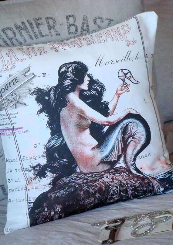 Throw Pillow Cover La Vie Parisienne Cotton and by JolieMarche, $35.00