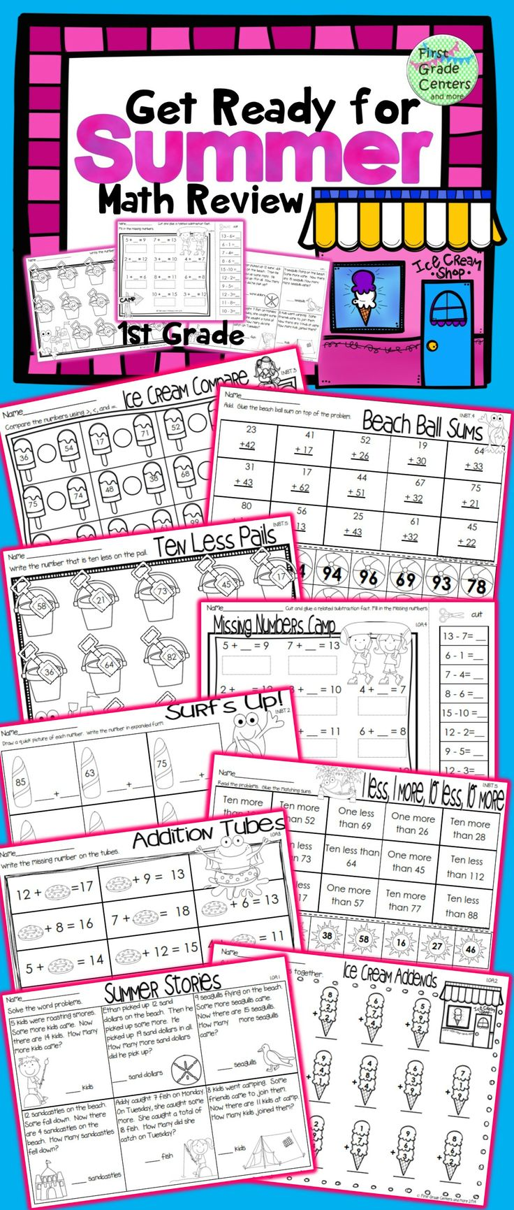 Worksheet 1st Grade Math Review 1000 images about math activitiesresources on pinterest fact 19 common core aligned end of yearsummer 1st grade review
