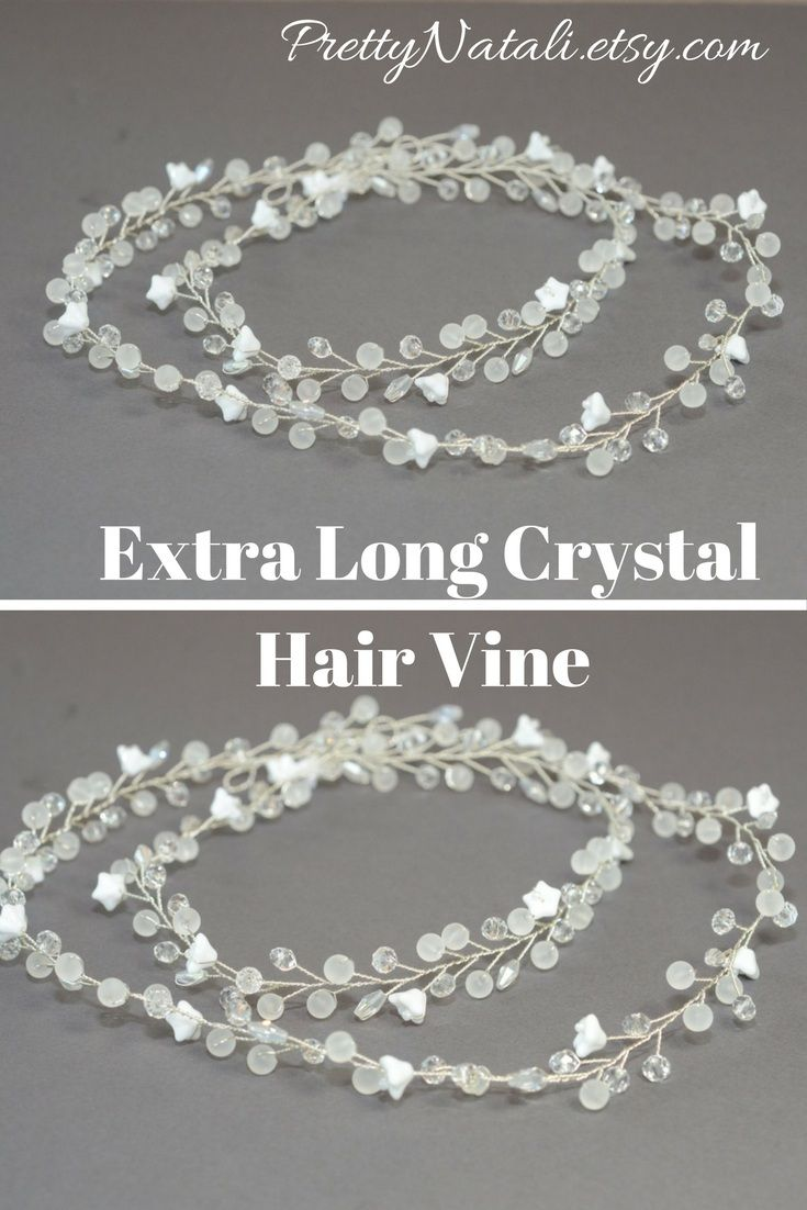 Lovely crystal hair wreath It made of Czech glass flowers, crystal beads and glass crystals. Bridal Extra Long Crystal Hair Vine, Flower Crystal Vine, Long Hair Accessories, Floral Crystal Long Vine, Bridla Hairpiece, bridal headband, wedding hair wreath #wedding #bridalheadpiece #hairvine #bridalheadband